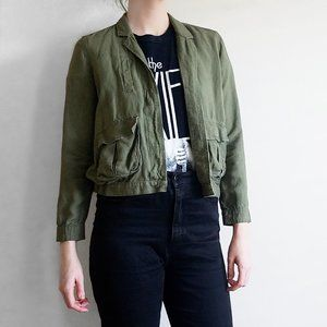 Madewell Cropped Linen Jacket Olive Green